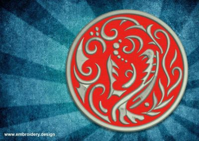 The embroidery design Patch abstract tattoo dragon