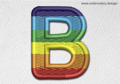 This Patch Rainbow Font English Letter B design was digitized and embroidered by www.embroidery.design.