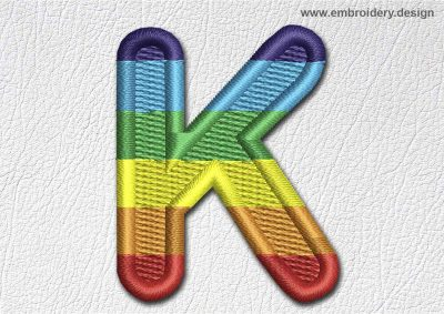 This Patch Rainbow Font English Letter K design was digitized and embroidered by www.embroidery.design.