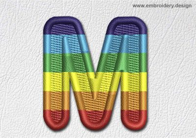 This Patch Rainbow Font English Letter M design was digitized and embroidered by www.embroidery.design.