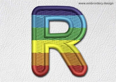This Patch Rainbow Font English Letter R design was digitized and embroidered by www.embroidery.design.