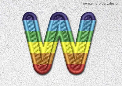 This Patch Rainbow Font English Letter W design was digitized and embroidered by www.embroidery.design.