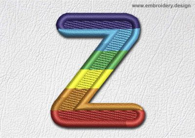 This Patch Rainbow Font English Letter Z design was digitized and embroidered by www.embroidery.design.