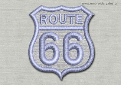 This Patch Route 66 design was digitized and embroidered by www.embroidery.design.