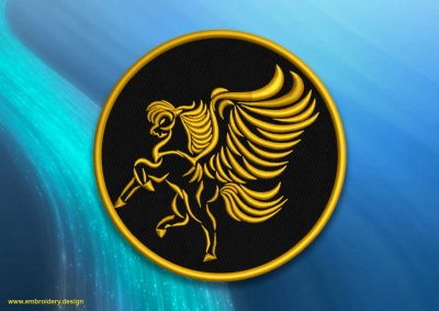 The embroidery design Patch with flying pegasus