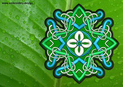 This Patterned Celtic symbol patch, transparent background design was digitized and embroidered by www.embroidery.design.