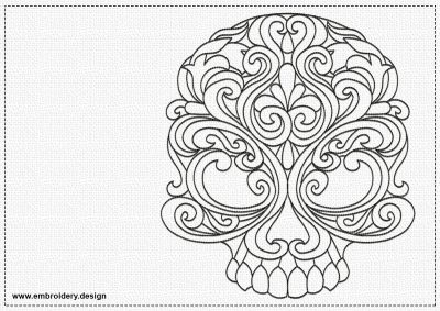 The embroidery design Patterned skull is easy to embroider thanks to using only run stitching elements.
