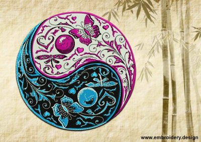 This Patterned Yin Yang design was digitized and embroidered by www.embroidery.design.