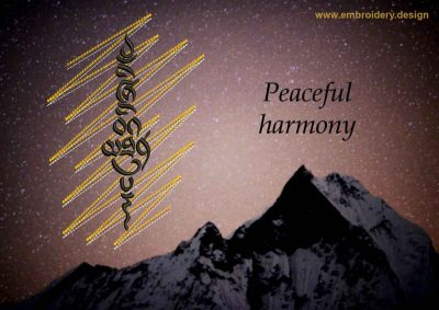 This Peaceful harmony on gold background design was digitized and embroidered by www.embroidery.design.