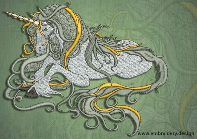 This Peaceful Unicorn design was digitized and embroidered by www.embroidery.design.