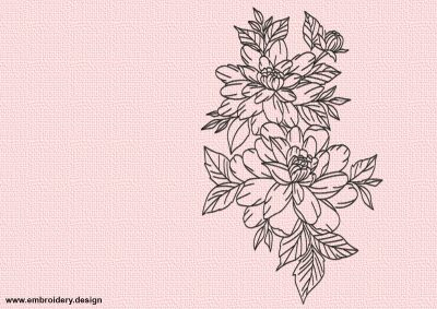 The embroidery design Pencil-drawing flowers was made of run stitching elements.
