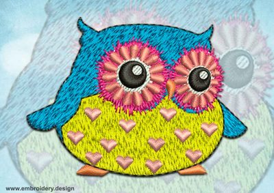 This Pensive owl design was digitized and embroidered by www.embroidery.design.