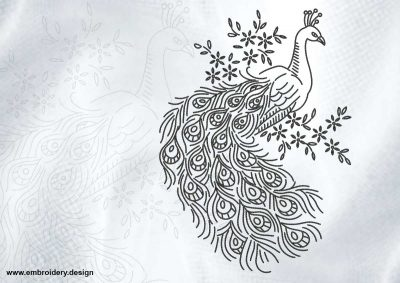 The embroidery design Pensive peacock