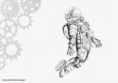 The embroidery design Pictured cosmonaut