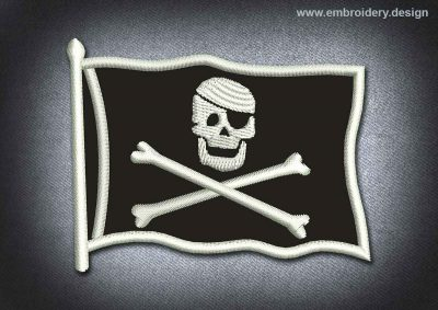 This Pirates Patch Black Pirates Flag design was digitized and embroidered by www.embroidery.design.