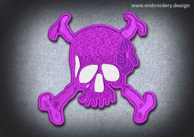 This Pirates Patch Pink Skull With Crossbones design was digitized and embroidered by www.embroidery.design.