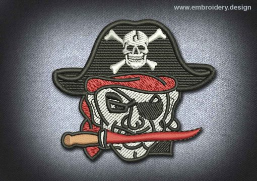 This Pirates Patch Pirate With The Knife design was digitized and embroidered by www.embroidery.design.