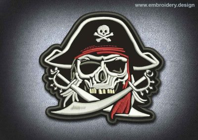 This Pirates Patch Skull Jolly Roger design was digitized and embroidered by www.embroidery.design.