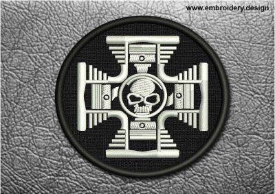 This Biker Patch Iron Cross With Skull In Black Circle design was digitized and embroidered by www.embroidery.design.
