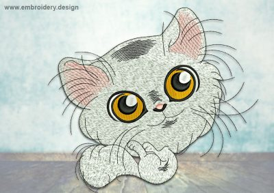 This Playful kitten design was digitized and embroidered by www.embroidery.design.