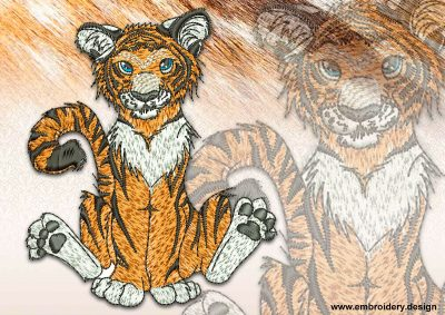 This Playful tiger cub design was digitized and embroidered by www.embroidery.design.