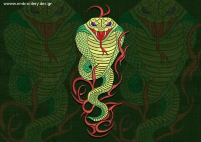 This Poisonous cobra design was digitized and embroidered by www.embroidery.design.