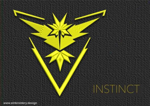 This Pokemon Go Team Instinct design was digitized and embroidered by www.embroidery.design.