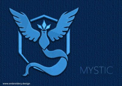 This Pokemon Go Teams Mystic design was digitized and embroidered by www.embroidery.design.