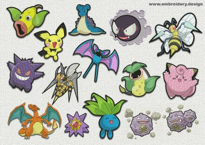 The pack of qualitatively digitized embroidery designs Pokemons diversity