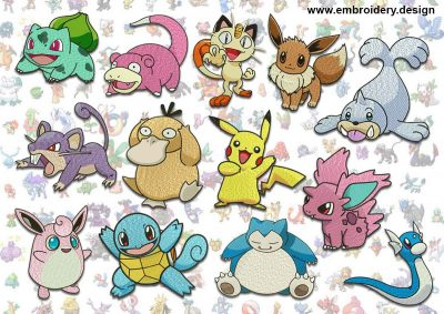 This Pokemons embroidery designs pack design was digitized and embroidered by www.embroidery.design.