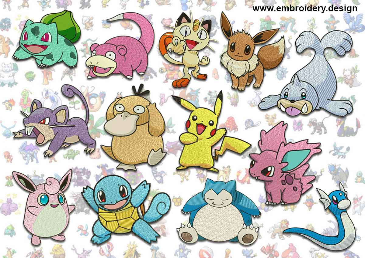 Pokemons Embroidery Designs Pack Collection Of 15 Embroidery