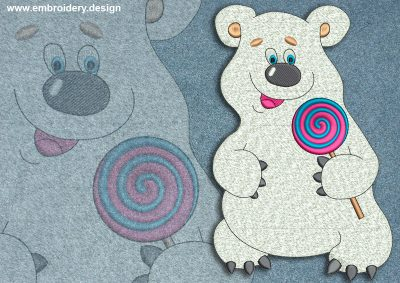 This Polar bear with candy design was digitized and embroidered by www.embroidery.design.