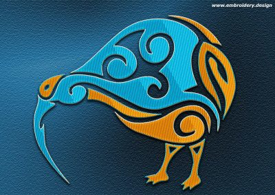 This Polynesian tattoo Kiwi design was digitized and embroidered by www.embroidery.design.