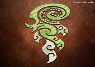 This Polynesian tattoo Koru e Fuoco design was digitized and embroidered by www.embroidery.design.