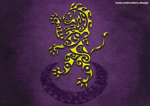 This Polynesian tattoo Leone rampant design was digitized and embroidered by www.embroidery.design.