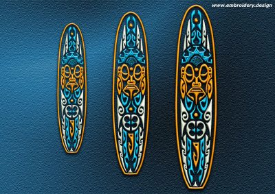 This Polynesian tattoo Longboard design was digitized and embroidered by www.embroidery.design.