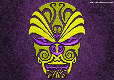 This Polynesian tattoo Maschera guerriero design was digitized and embroidered by www.embroidery.design.
