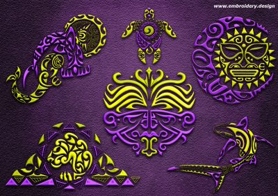 This Polynesian tattoo pack #2 design was digitized and embroidered by www.embroidery.design.