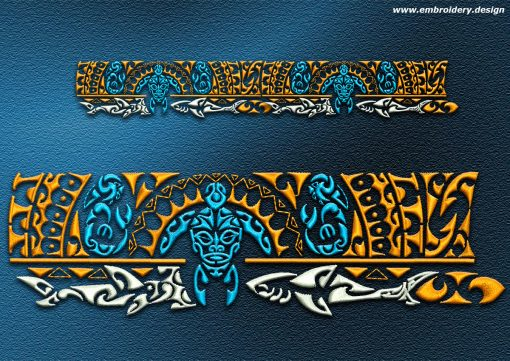 This Polynesian tattoo Whakaoranga design was digitized and embroidered by www.embroidery.design.