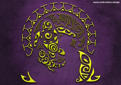 This Polynesian tattoo Whanau design was digitized and embroidered by www.embroidery.design.