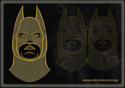 This Portrait of Batman design was digitized and embroidered by www.embroidery.design.