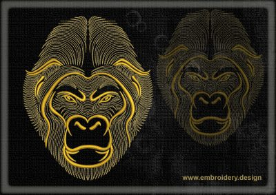This Portrait of gorilla design was digitized and embroidered by www.embroidery.design.