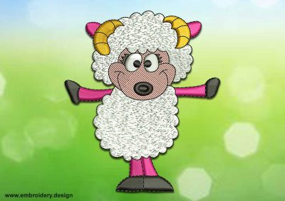 This Positive sheep design was digitized and embroidered by www.embroidery.design.