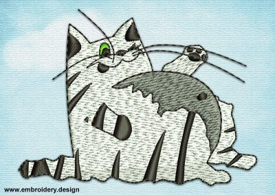 This Potbellied cat design was digitized and embroidered by www.embroidery.design.