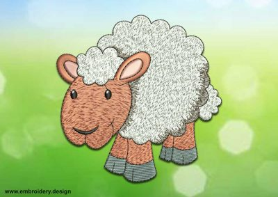 This Pretty sheep design was digitized and embroidered by www.embroidery.design.