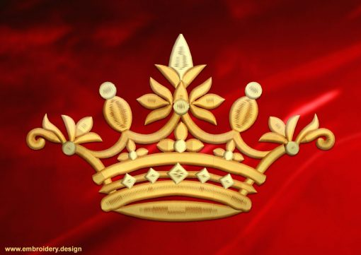 This Prince's crown design was digitized and embroidered by www.embroidery.design.