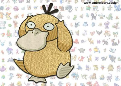 This Psyduck Pokemon design was digitized and embroidered by www.embroidery.design.