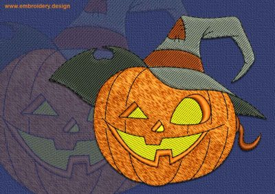 This Pumpkin in hat design was digitized and embroidered by www.embroidery.design.