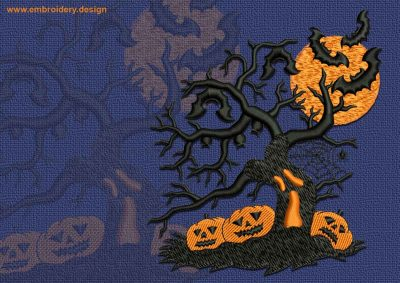 This Pumpkins under the tree design was digitized and embroidered by www.embroidery.design.