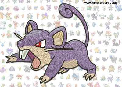This Rattata Pokemon design was digitized and embroidered by www.embroidery.design.